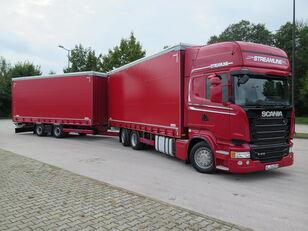 camion bâché SCANIA R410 TOP LINE + KRONE, ZESTAW 120 M3 + remorque bâchée